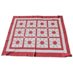 Amazing Red and White Geometric Star Quilt