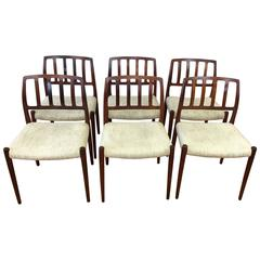 "Set of Six Niels Møller ""Model 83"" Rosewood Dining Chairs for J.L. Møller"