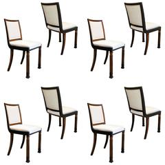 Set of Eight Modern Classicism Dining Chairs in Elm by Erik Chambert