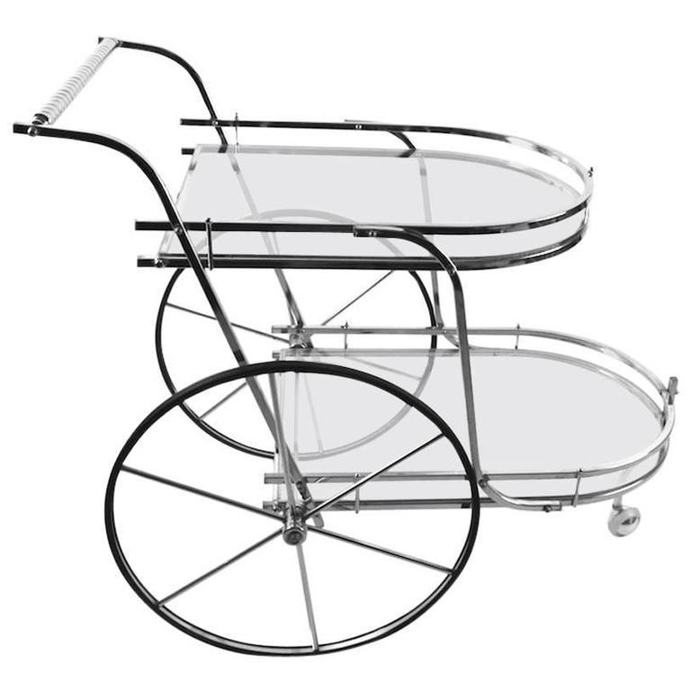 Chrome and Glass Serving Bar Cart
