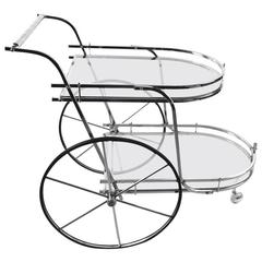 Chrome and Glass Serving Bar Cart