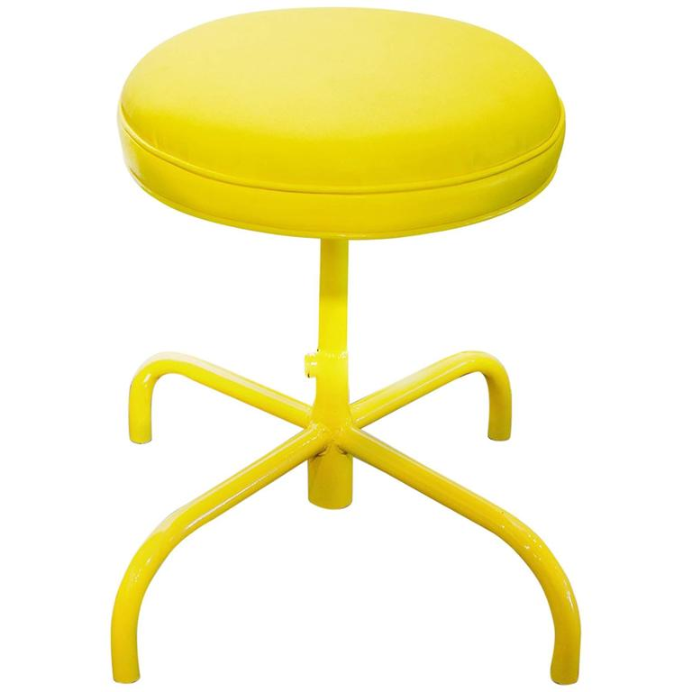 Vintage Counter Stool In Electric Yellow Circa 1960s At