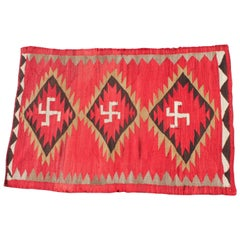 Red Navajo Transitional Rug with Three Central Diamonds