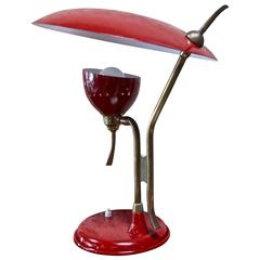 Oscar Torlasco Red Lacquered Table Lamp by Lumi