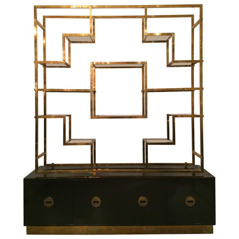 Monumental Signed Brass Shelf by Romeo Rega