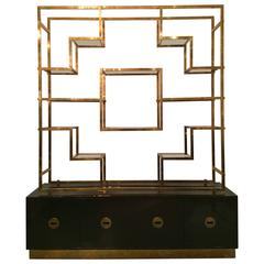 Monumental Signed Brass Shelf by Romeo Rega