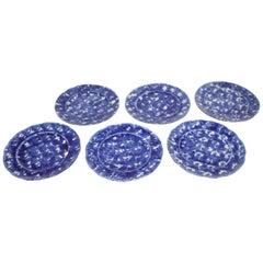 Set of Six Matching 19th Century Sponge Ware Dinner Plates