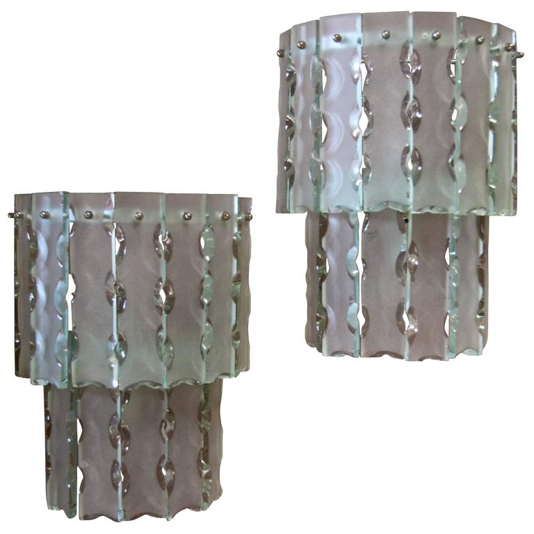 Pair of Italian Beveled Glass Sconces by Cristal Art 1