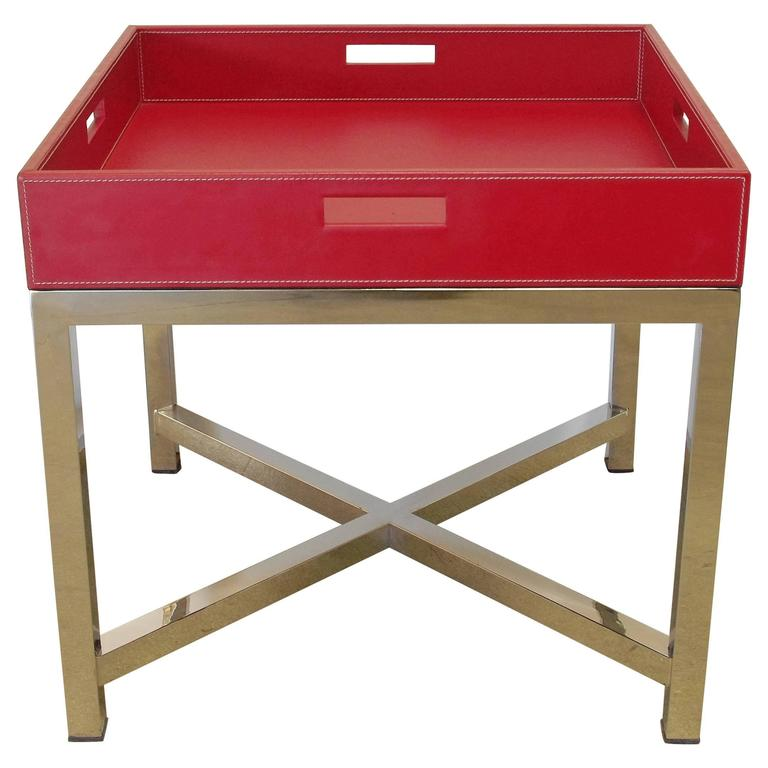 Red Leather and Stainless Steel Tray Table
