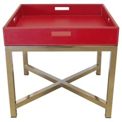Red Leather and Stainless Steel Tray Table by Fabio Ltd