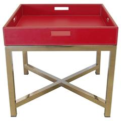 Red Leather and Stainless Steel Tray Table by Fabio Bergomi
