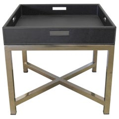 Black Leather and Stainless Steel Tray Table by Fabio Ltd