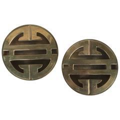 Rare Pair of Mid-Century Chinoiserie Brass Ash Recievers