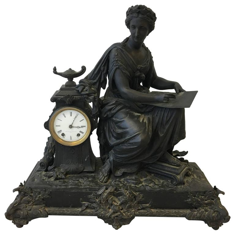 1920s Art Deco Seth Thomas Large Bronze Female Clock