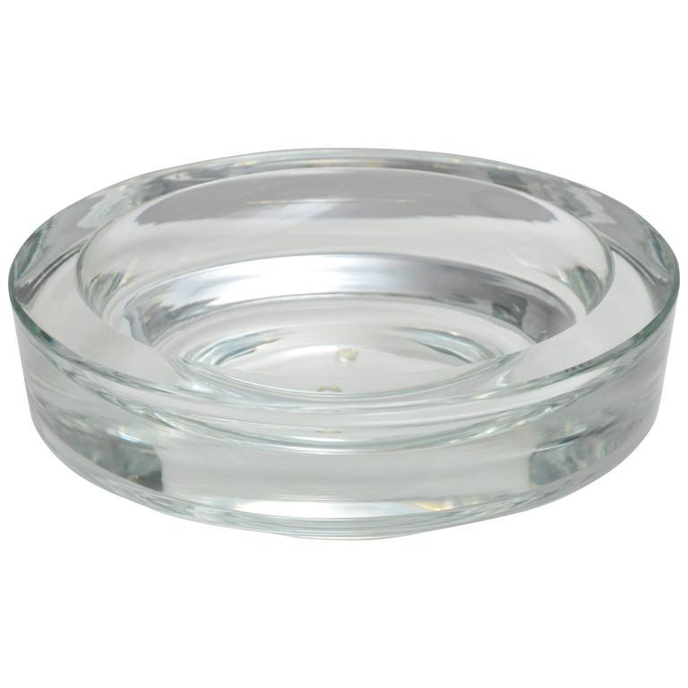 Signed Karl Springer Large Crystal Bowl
