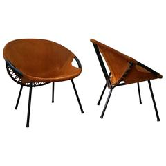 Pair of 1960s Suede Leather Chairs