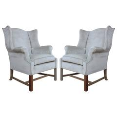 Pair of Sculptural Wingback Lounge Chairs in Grey Silver Velvet