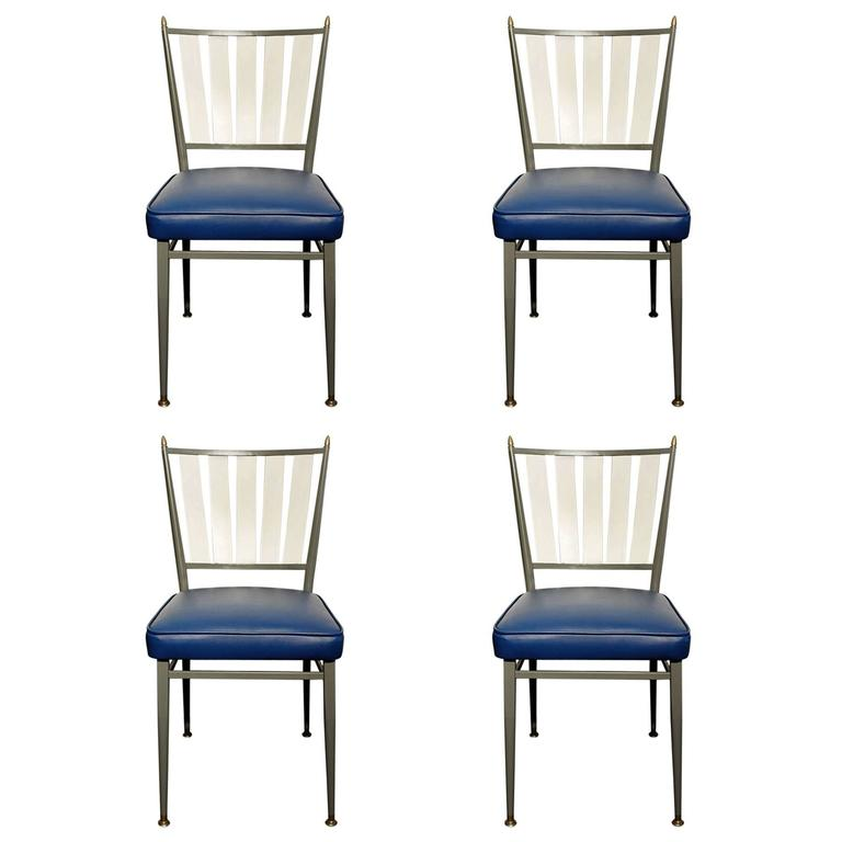 Chromcraft Dinettes: Set Of Four Chromcraft 1950s Slat Back Dinette Chairs At