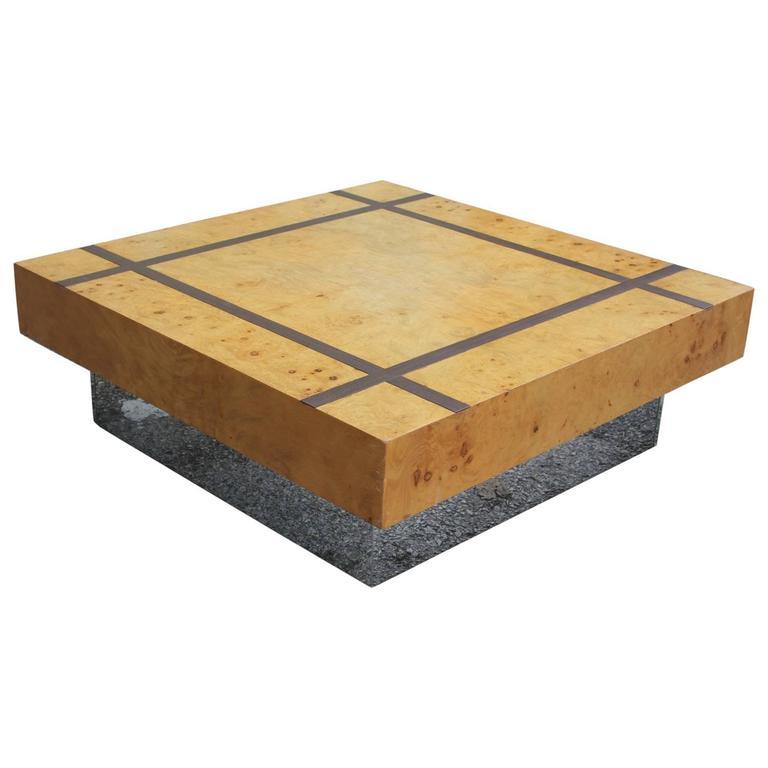 Modern Burl And Chrome Square Coffee Table With Dark Walnut Inlay 1