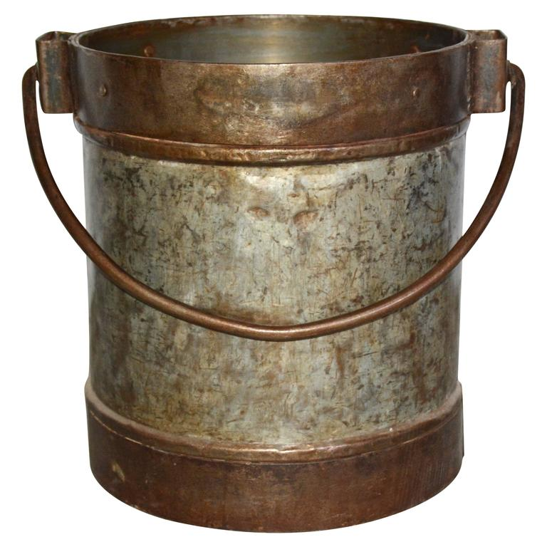 Antique Industrial Metal Bucket Table Base For Sale