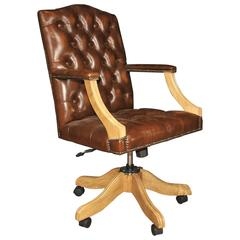 regency captains office desk chair armchair deep antique leather office chair