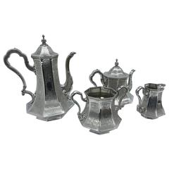 Art Nouveau Engraved Tea Service Made by Skinner & Co. in, circa 1890