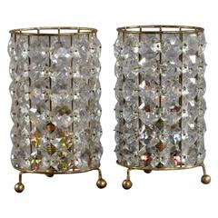 Charming Pair of Crystal Glass Table Lamps by Bakalowits & Söhne, 1950