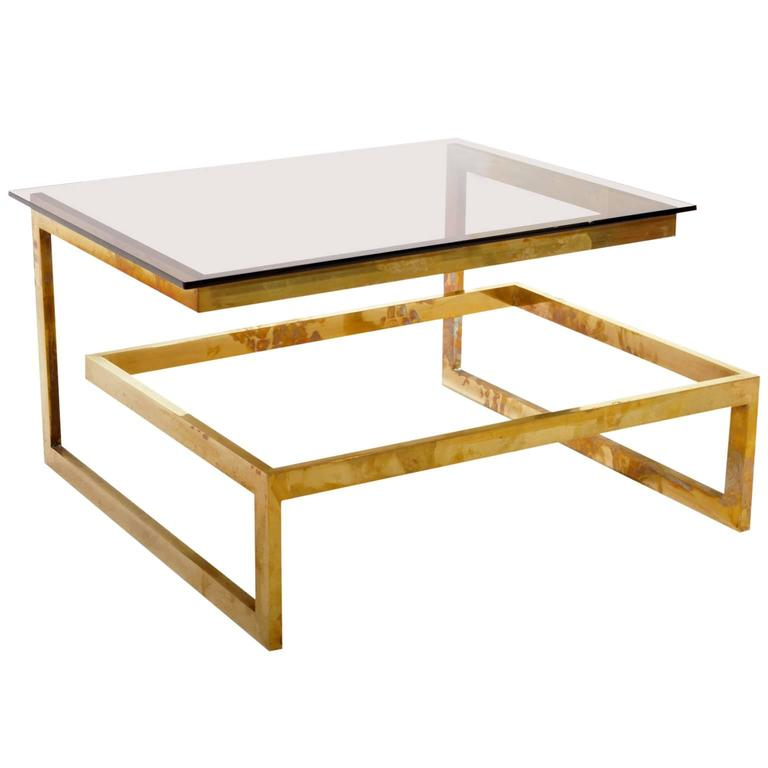 Artimeta Attributed Square Metal And Glass Coffee Table At: Coffee Table Attributed To Sandro Petti For Metalarte