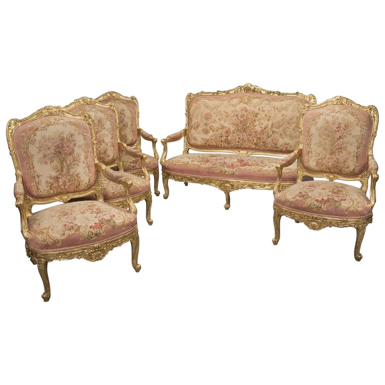 Louis xv style carved giltwood aubusson salon suite for for Salon louis 15