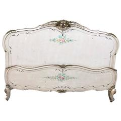 Rare French Antique, Vintage Original Painted King or Queen-Size Bed