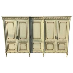 French Antique Original Painted Six-Door Armoire