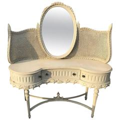 Antique French Dressing Table with Mirror and Original Paint