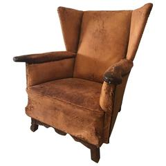 Rare, Antique and Vintage Rustic French Leather Industrial Club Chair