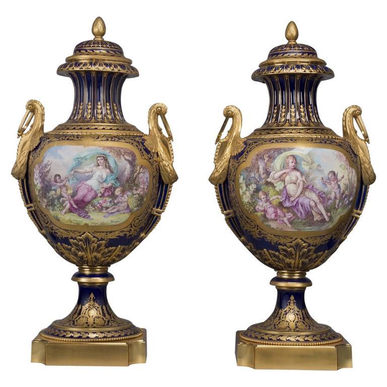 Pair Of Svres Style Cobalt Blue Ground Porcelain Vases For Sale