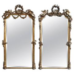 Pair of 19th Century Large and Richly Ornamented Gold Gilded Mirrors