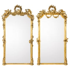Monumental Pair of Large-Scale Antique French Gilt Golden Mirrors
