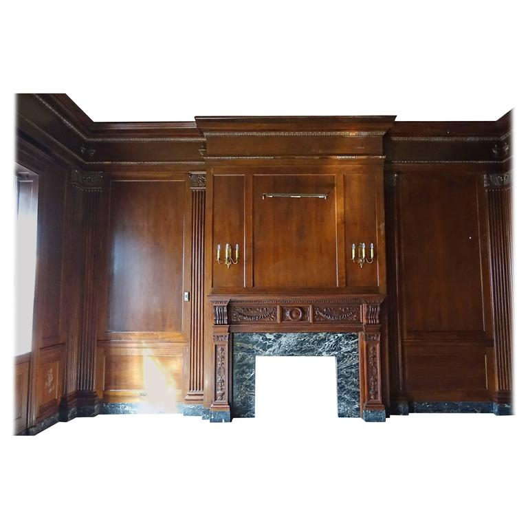 Neoclassical Walnut Panelled Room and Mantel from the Williamsburg Savings Bank