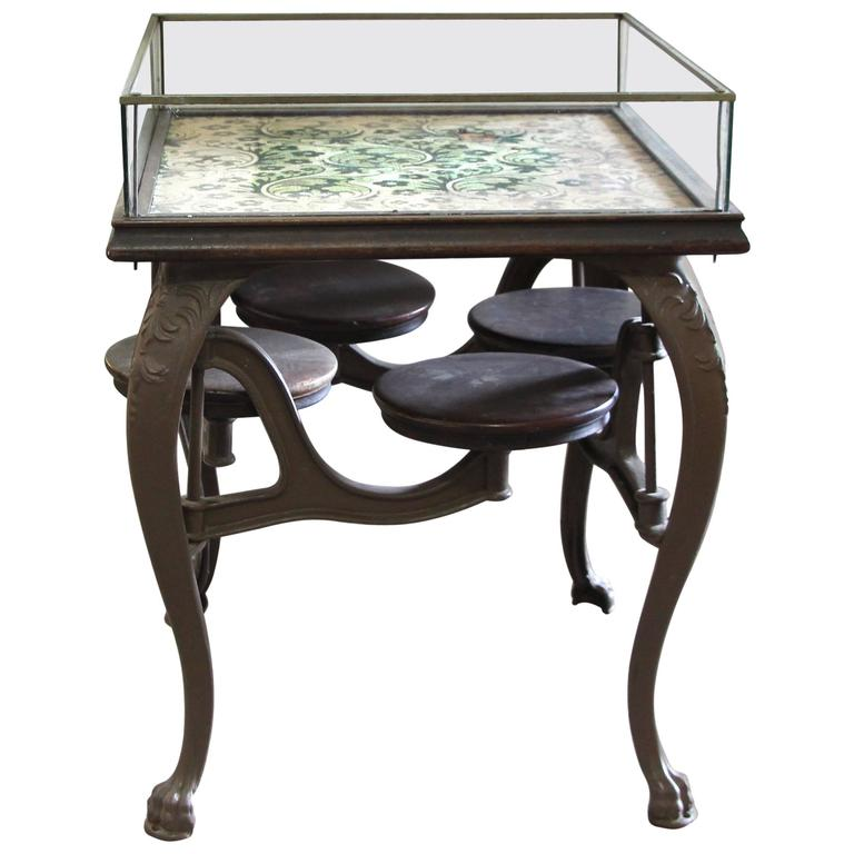 1880s Antique Soda Fountain Glass Display Case Table With Cast Iron Swing  Seats
