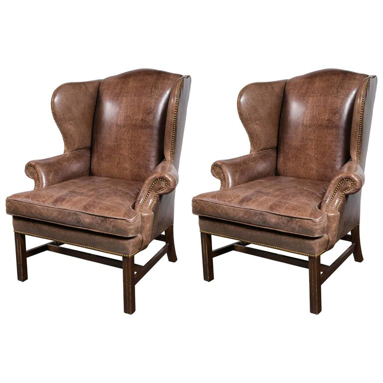 Pair of oversized leather wing chairs for sale at 1stdibs for Big chairs for sale