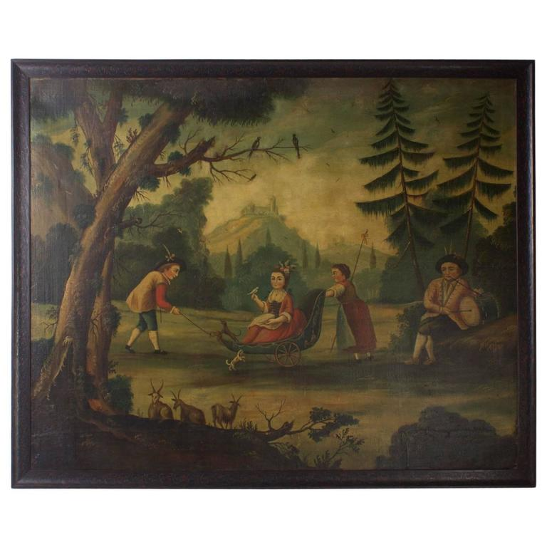 18th Century Oil on Canvas Woodland Scene Painting