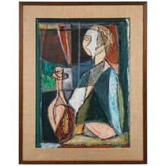 Rare Mid-Century Modern Painting of Cubist Woman