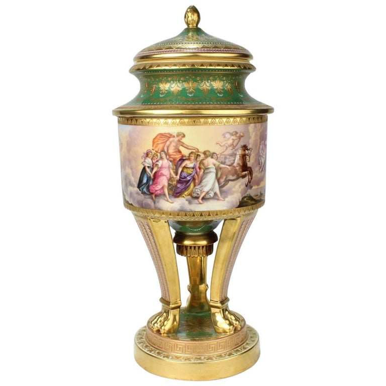 Large Hand-Painted Royal Vienna Porcelain Covered Urn or Vase, 19th Century