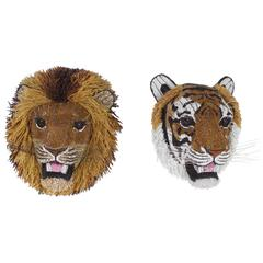 South African Beaded Glass Tiger and Lion Heads