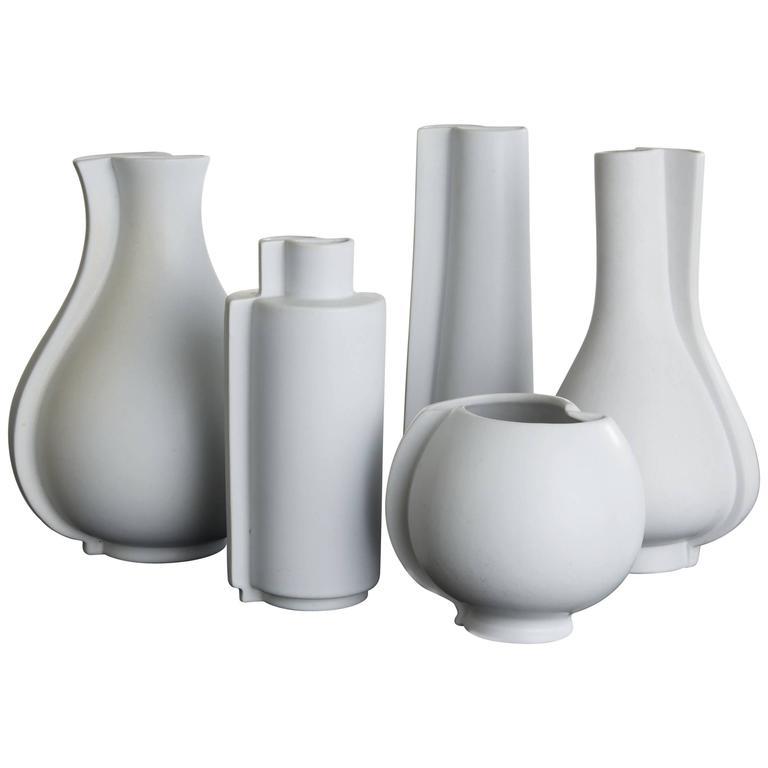 "Wilhelm Kåge ""Surrea"" Stoneware Vases, Five Pieces, Gustavsberg, Sweden"
