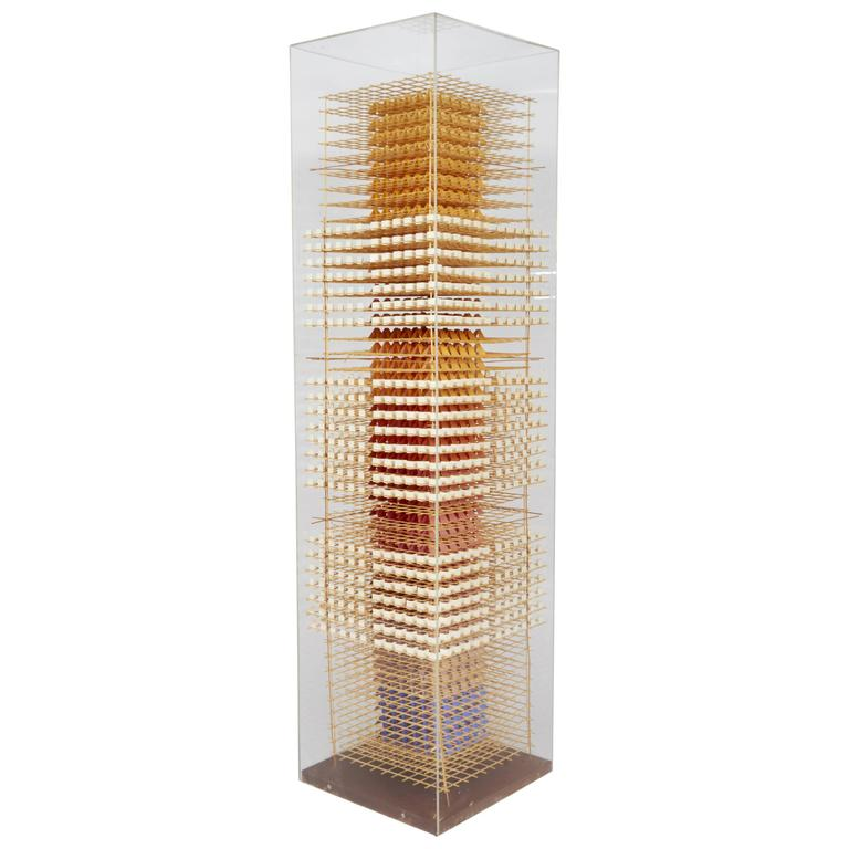 Wood and Paper Sculpture in Acrylic Box by Irving Harper, USA