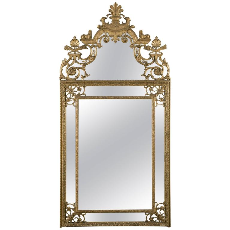 19th Century French Regence Style Carved Giltwood Mirror with Parcloses
