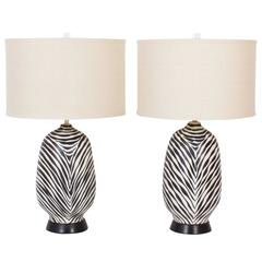 Mid-Century Pair of Italian Zebra Table Lamps