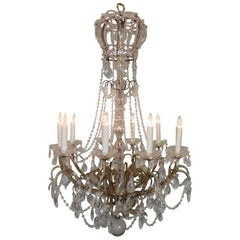 Early 20th Century Italian Crystal and Brass Coronation Chandelier