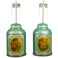 Pair of Victorian Tole Tea Canister Table Lamps