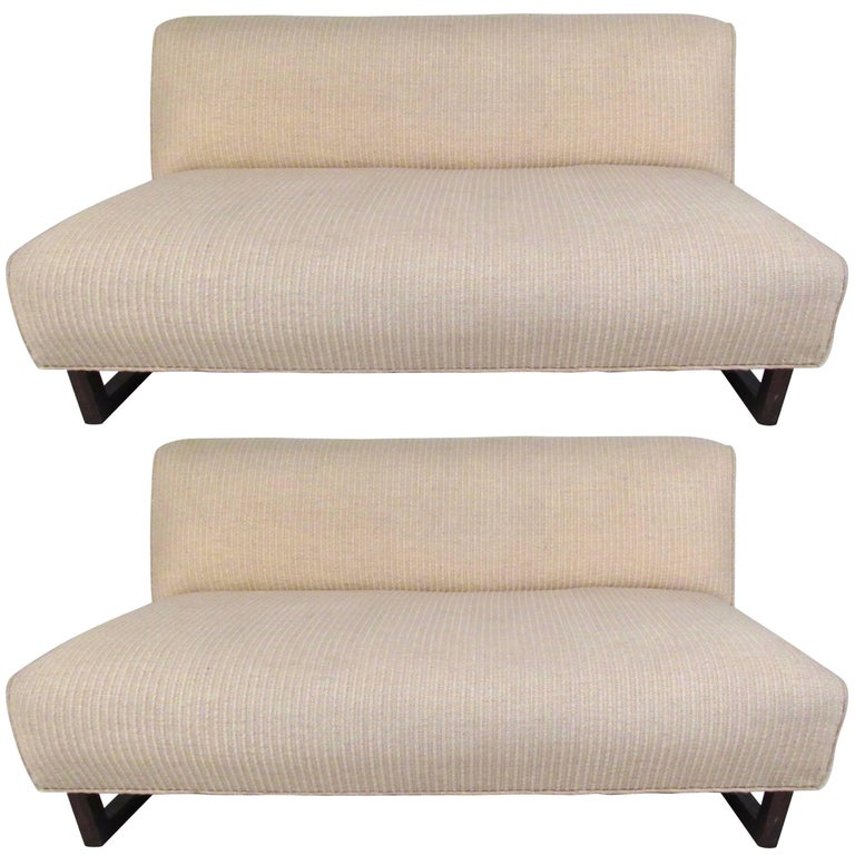 Pair of Mid-Century Modern Sled Leg Slipper Sofas For Sale